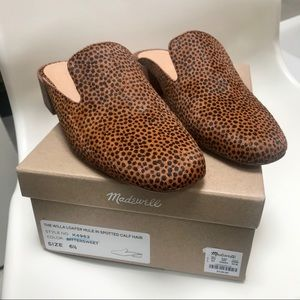 Madewell Willa Mule In Spotted Calf Bittersweet